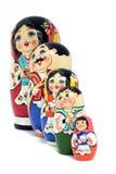 Família das bonecas do russo - isolada Fotografia de Stock Royalty Free