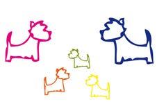 A família de cães de Westies na cor Foto de Stock Royalty Free