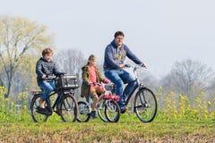 A família de ciclagem aprecia o tempo agradável da mola, Brabante, Países Baixos foto de stock