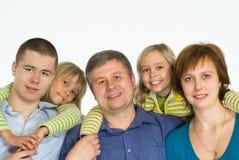 Família de cinco feliz Fotografia de Stock