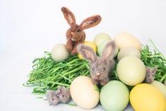 Família de coelhos pequenos de Felted entre Pale Colored Eggs e a grama Fotos de Stock Royalty Free