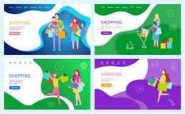 Família de compra com as crianças que levam sacos de papel ilustração stock
