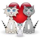 Família de gatos Fotografia de Stock Royalty Free