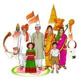 Família de Maharashtrian que mostra a cultura do Maharashtra, Índia Imagem de Stock