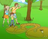 Família de Minigolf Fotografia de Stock Royalty Free