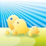 família de pássaro amarela Fotos de Stock Royalty Free