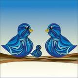 Família de pássaro do vetor ilustração royalty free