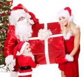 Família de Papai Noel com criança. Fotografia de Stock