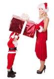 Família de Papai Noel com criança. Foto de Stock