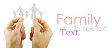 Família de papel nas mãos Imagem de Stock Royalty Free
