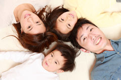 Família de quatro pessoas japonesa Fotos de Stock Royalty Free
