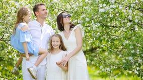 Família de quatro pessoas no jardim de florescência no dia de mola bonito filme