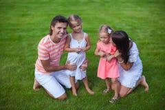A família de quatro pessoas nova do retrato senta-se na grama e Fotos de Stock Royalty Free
