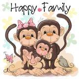 Família de três macacos bonitos ilustração do vetor