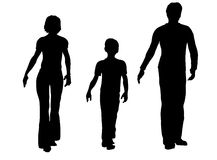 família de três que anda ilustração royalty free