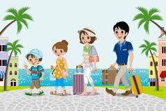 Família de viagem na cidade do beira-mar - EPS10 ilustração do vetor