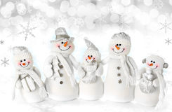 Família do boneco de neve do Natal Foto de Stock Royalty Free