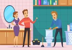 Família do cliente e encanador Repairing Toilet ilustração do vetor