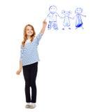 Família do desenho da menina no ar Imagem de Stock