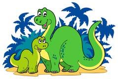Família do dinossauro dos desenhos animados Fotos de Stock