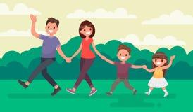 Família do divertimento que anda no parque Resto na natureza Illustrat do vetor Foto de Stock Royalty Free