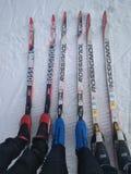 Família do esqui através dos campos fotografia de stock royalty free