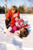 Família do inverno Fotos de Stock Royalty Free