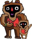 Família do macaco-pai e do filho fotos de stock