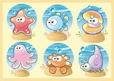 Família do mar com fundo Imagens de Stock