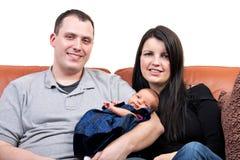 Família do sorriso dos povos do três Foto de Stock Royalty Free