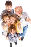 Família do Thumbs-up que levanta no estilo imagens de stock
