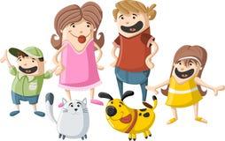 Família dos desenhos animados com animais de estimação Fotografia de Stock