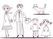 Família dos desenhos animados com gato Fotos de Stock