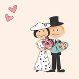 Família dos desenhos animados com recém-nascido Imagem de Stock Royalty Free