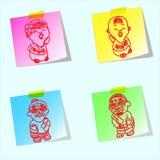 Família dos desenhos animados da tração da mão Fotografia de Stock Royalty Free