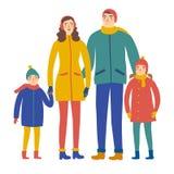 Família dos desenhos animados na roupa do inverno Imagens de Stock Royalty Free