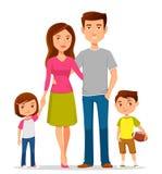 Família dos desenhos animados na roupa ocasional colorida Fotos de Stock Royalty Free