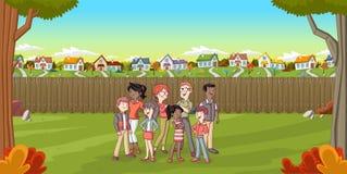 Família dos desenhos animados na vizinhança do subúrbio Fotografia de Stock