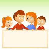 Família dos desenhos animados que prende o sinal em branco Fotos de Stock