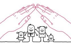 Família dos desenhos animados - telhado Foto de Stock