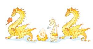 Família dos dragões amarelos 3 Foto de Stock