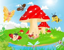 Família dos insetos no jardim ilustração royalty free