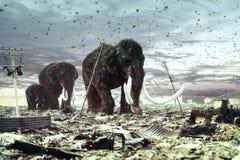 A família dos mammoths fotos de stock royalty free