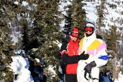 Família dos montanha-esquiadores. Imagem de Stock