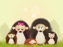 Família dos ouriços Fotos de Stock Royalty Free