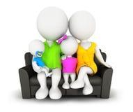 família dos povos 3d brancos que senta-se no sofá ilustração stock