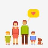 Família dos povos do pixel Ilustração Royalty Free