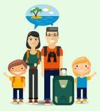 Família dos viajantes que sonham sobre a praia ensolarada ilustração do vetor