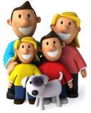 Família e cão Fotos de Stock Royalty Free