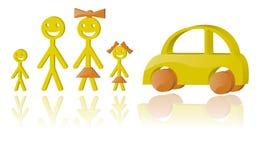 Família e carro Fotografia de Stock